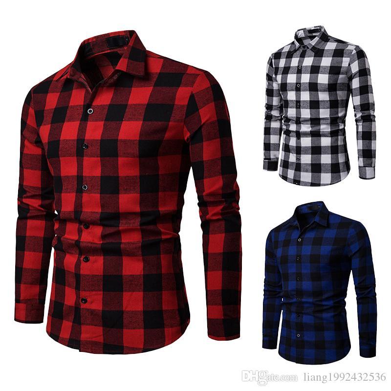 2019 ilkbahar ve sonbahar yeni erkek iş rahat uzun kollu gömlek gençlik ekose gömlek