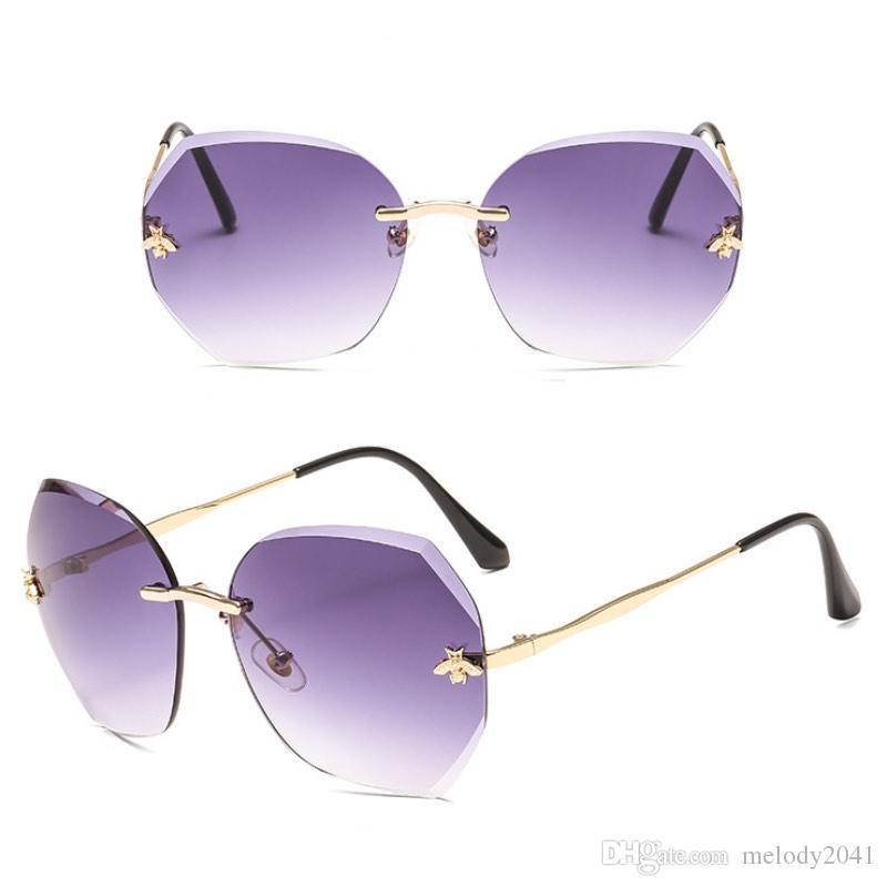 Çerçevesiz Tasarımcı Gözlük Küçük Arı Renkli Güneş Güneş Gözlüğü Renkler Melody2041 Gözlük Poligonal Bayanlar Güneş Gözlüğü Moda 7 2019 Heavi