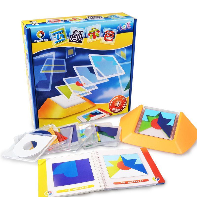 100 jogos de código de cor do desafio tangram quebra-cabeça jigsaw board crianças crianças desenvolver lógica raciocínio espacial raciocínio brinquedo c19041701