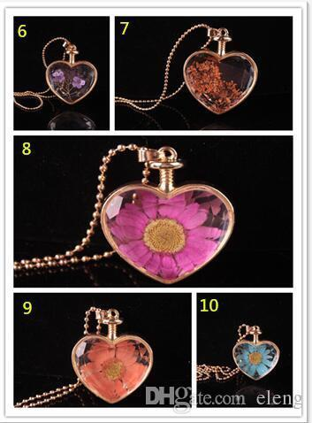 муранского формы сердца Lampwork стеклянные подвески ароматерапия кулон ожерелье ювелирные изделия сухие цветы духи флакон подвески бутылки ожерелье 531
