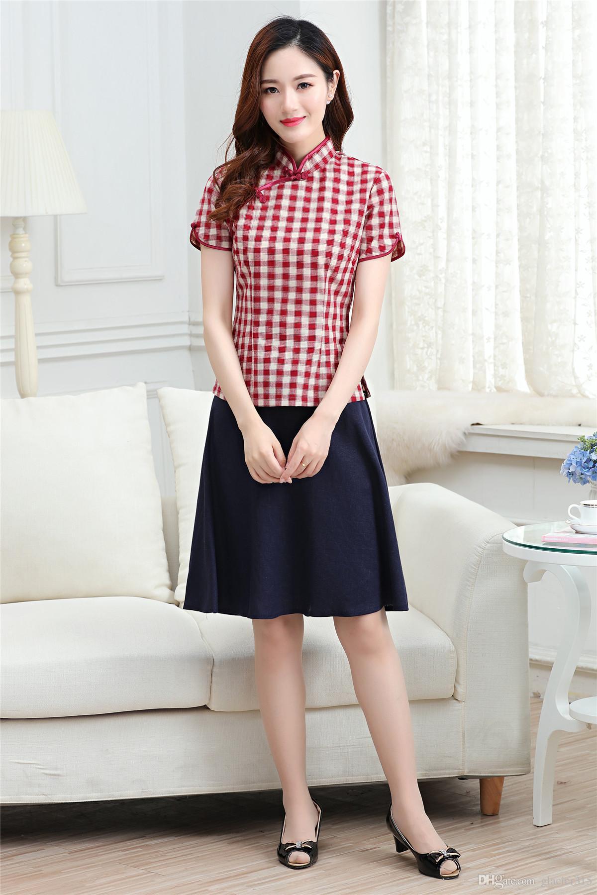 상하이 이야기 2 개 세트 중국 전통 스타일의 유니폼 리넨 블라우스 긴 치마 빈티지 드레스 세트 여자