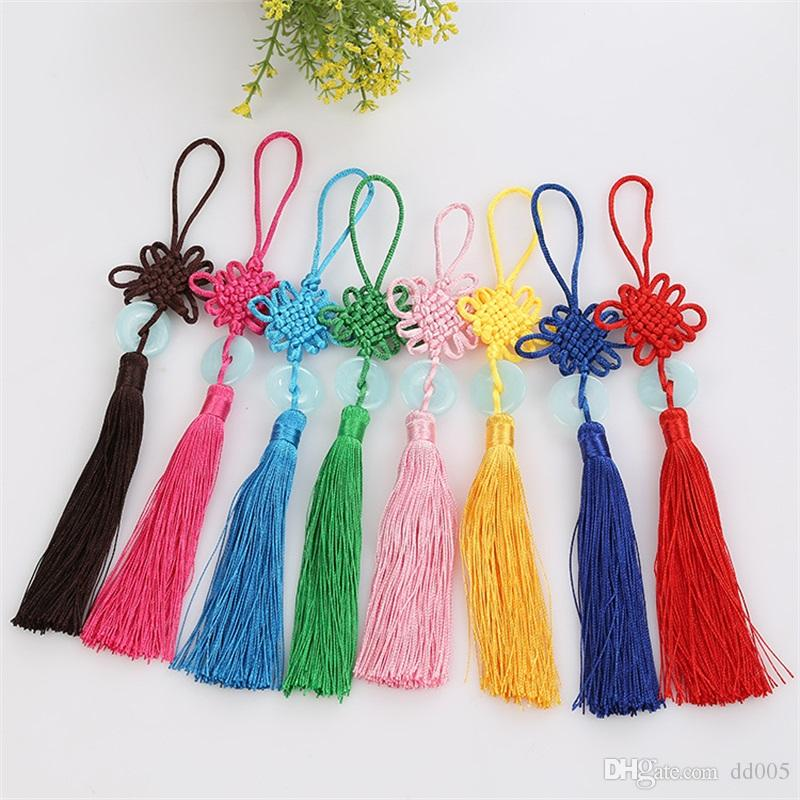 Top Quality Lucky Chinese Knots Festival Gift Vehicle Hangers With Tassels Pure Color Pendent DIY Home Hanging Decor 1zs Ww