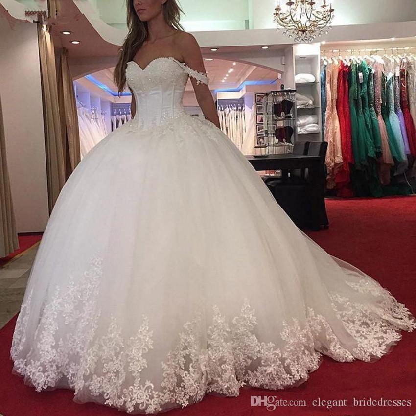 Robe de mariée robe de mariée de robe de boules de dentelle épaule Vintage chérie perlée tulle blanche personnalisée guiche de mariée corset robes de mariée sans dos