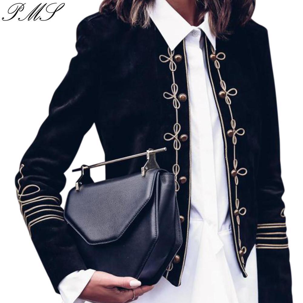 breasted doble femenino de la chaqueta militar cosecha corta estilo de las mujeres Escudo estilo corto de manga larga Impreso suave exquisita costura D30 T200114