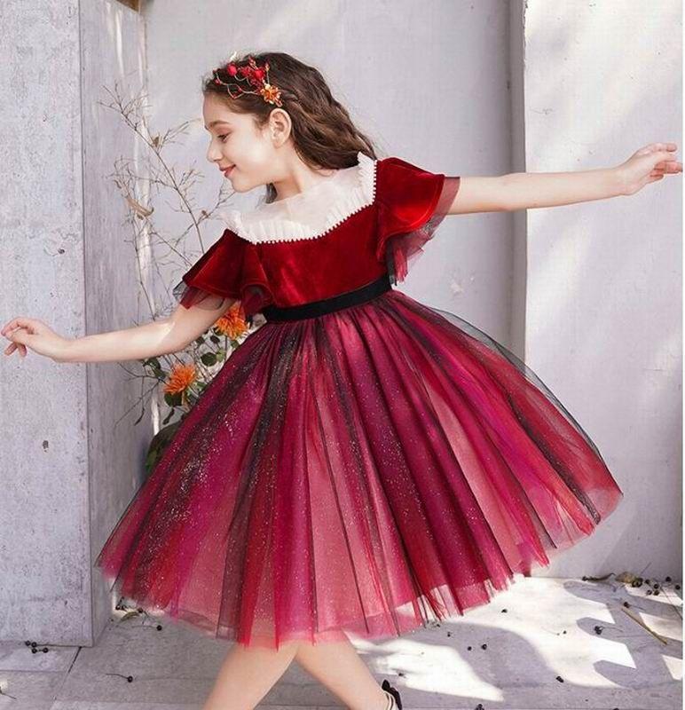 Mädchen Wine Red Velvet-Partei-Kleid-Kind-Prinzessin Kleider Verbandsmull PUFFÄRMELN Perform Ballsaal Kleid Kinderkleidung E202094