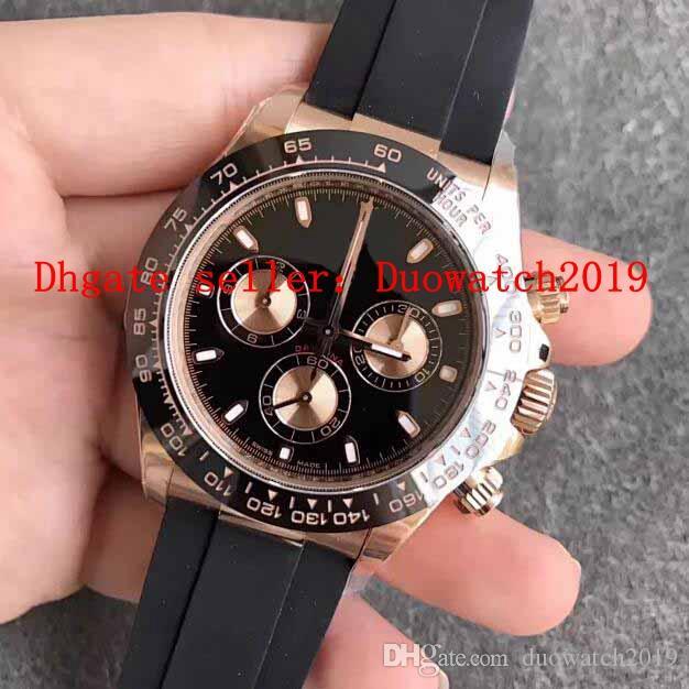 oro para hombre 40MM N V9 fábrica Rose Brown reloj cronógrafo automático Cal.4130 hombres 116518 goma de acero 904L Eta KIF SHOCK absorbentes