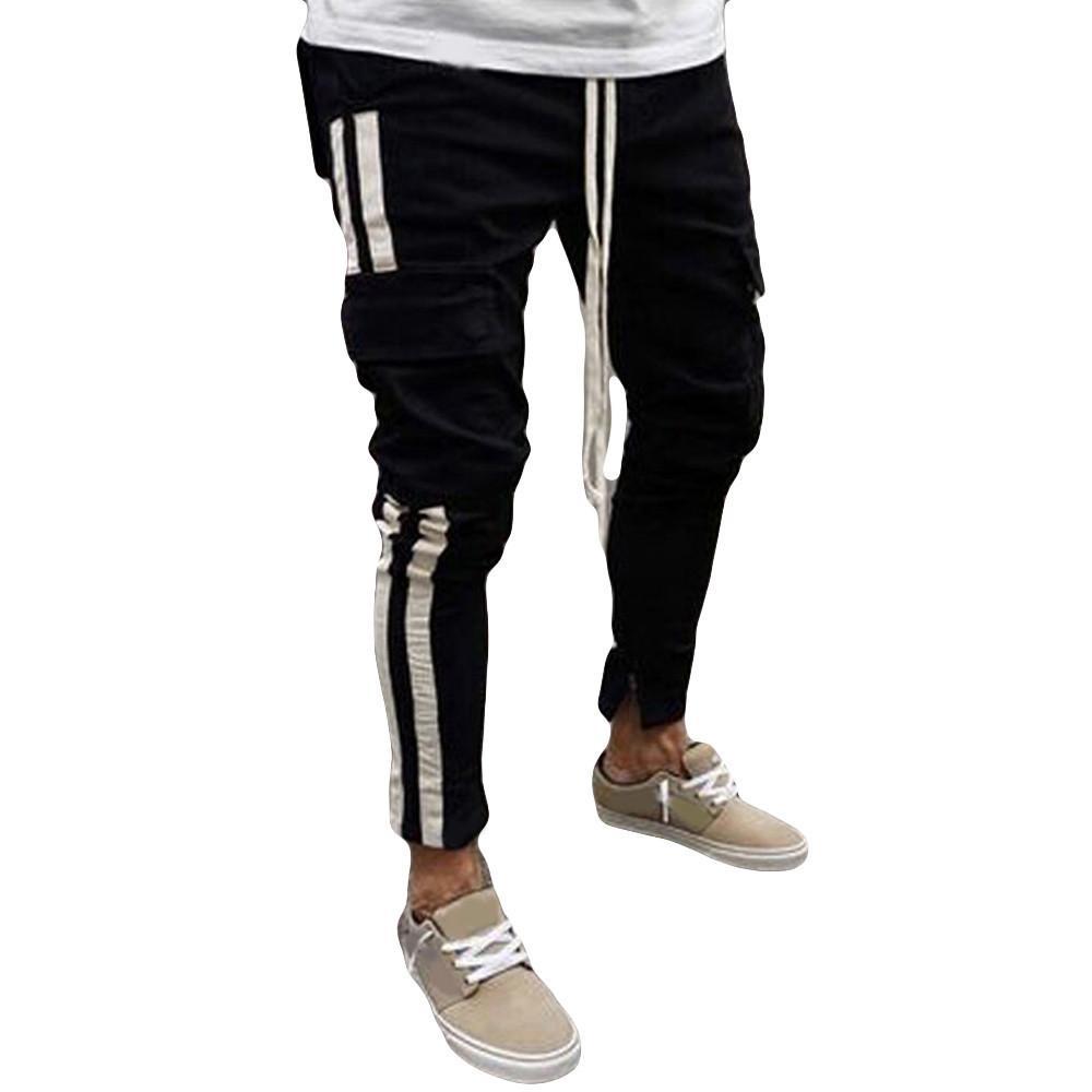 Men's Autumn Winter New Fashion Black Multi Bag Young Cowboy Pants 2019 Hot cargo pants jeans men Clothing W313