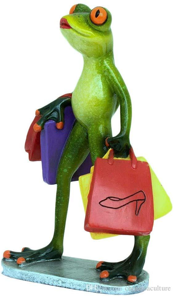 Creative Frog Statues,Funny Adorable Frogs Figurines,Shopping Lady Type,Nice Desktop Decorations for Home and Office Decor