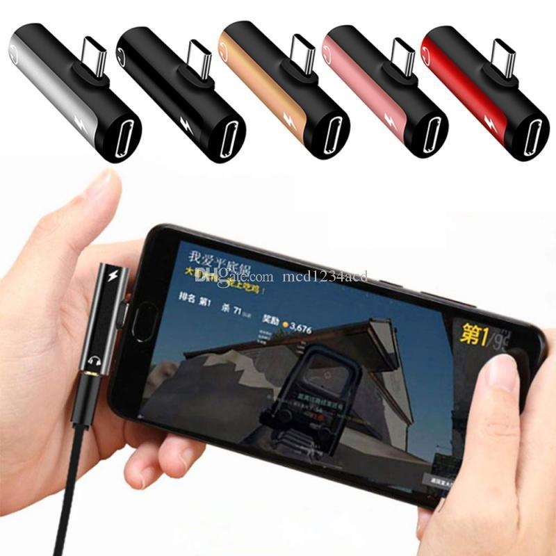 2 in 1 tipo C a 3,5 mm Aduphone Adapter Cables Aux Audio Tipo-C Convertitore di ricarica per Xiaomi Redmi Samsung Tablet Connector