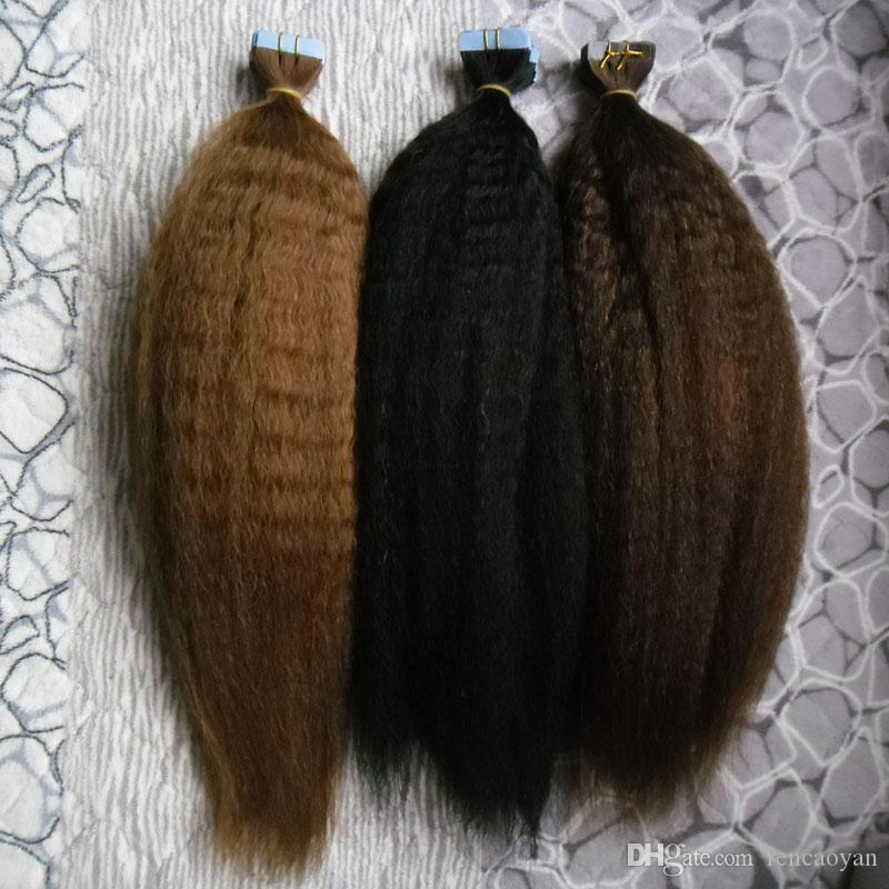 Tape em extensões do cabelo humano italiano / grossa yaki 40pcs Kinky reta pele amostras Trama sem emenda extensão do cabelo para testar Hair Salon