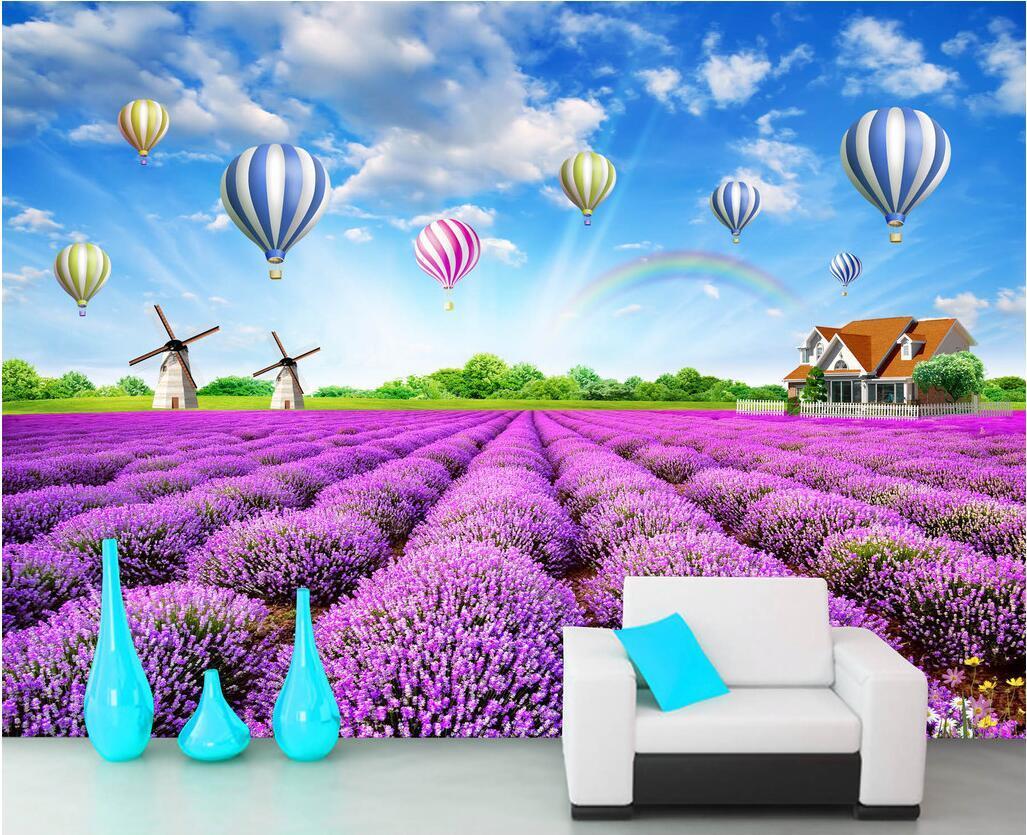 WDBH décoration intérieure salle de ballon à air chaud lavande photo personnalisé de papier peint paysage de nature pastorale peintures murales 3d papier peint pour les murs 3 d