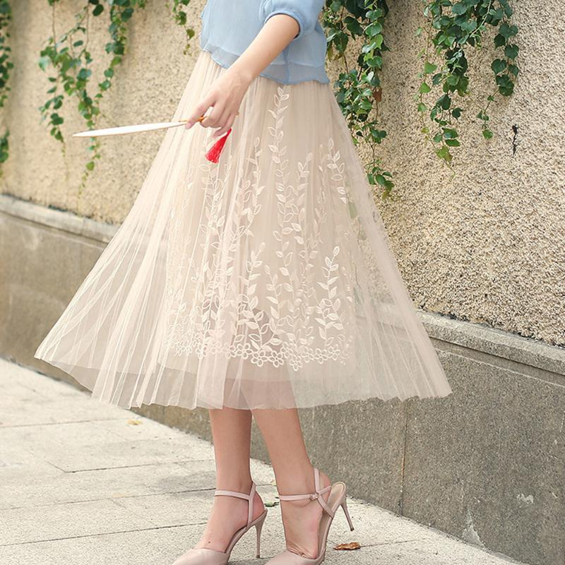 2020 New Spring Summer Vintage Skirts Womens High Elastic Waist Tulle Mesh Lace Skirt Long A Line Tutu Skirt Female Jupe Longue