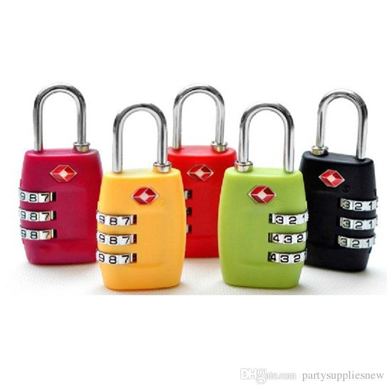 Zahlenschloss Rückstellbare Zollschlösser Reisegepäck Vorhängeschloss Koffer Hochsicherheitsfarben Mix