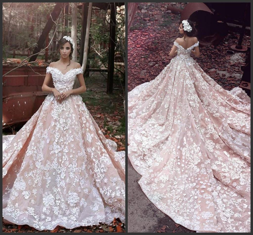 New Plus Size Dreaming Goddess Ball Gown Wedding Dresses 3D Flora Appliques Sheer Back Off-shoulder Luxury Romance Bridal Gowns Custom Made