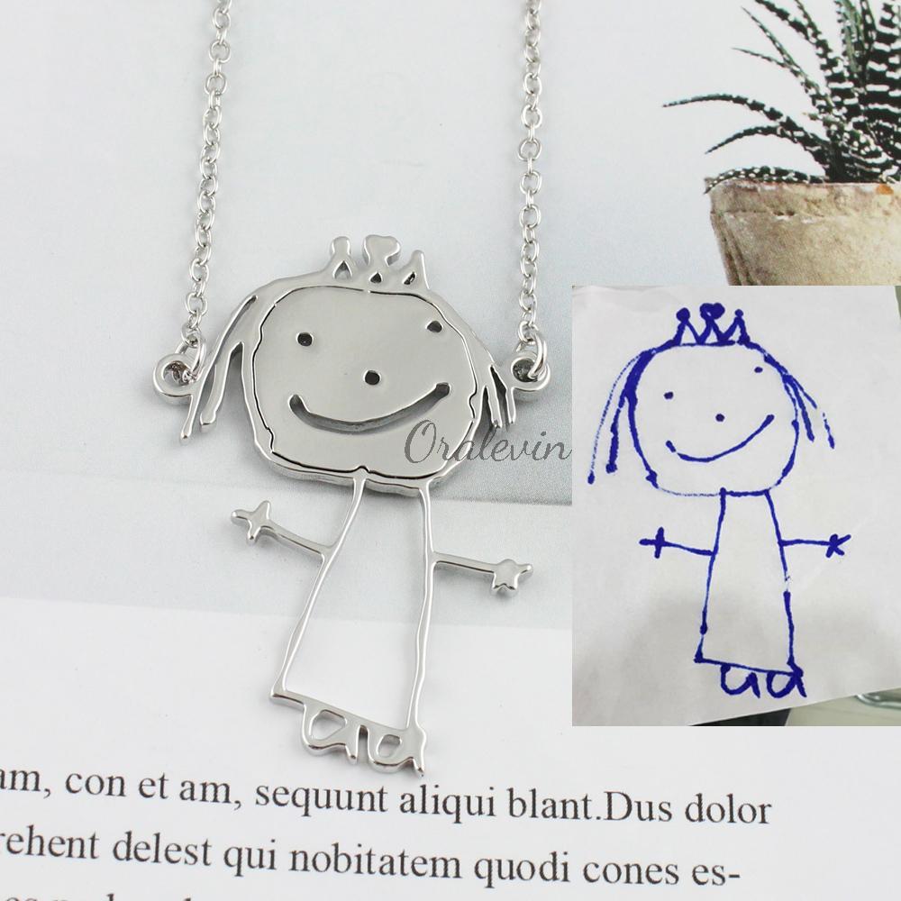 Obra Criança personalizada pingentes Foto Pingente Jóias de Colar Kid Desenho de Customized Children Presente de Natal