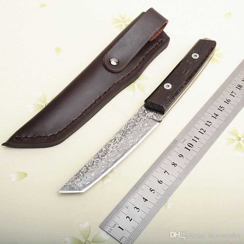 Nueva supervivencia de la manija recta del cuchillo de acero VG10 Damasco Tanto hoja de espiga completa Wenge madera con la envoltura de cuero
