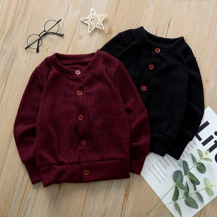 3 цвета ребёнок девушка трикотажного одежды свитер ins осень с длинным рукавом ребенок хлопок кардиган вино красный черный пальто новый