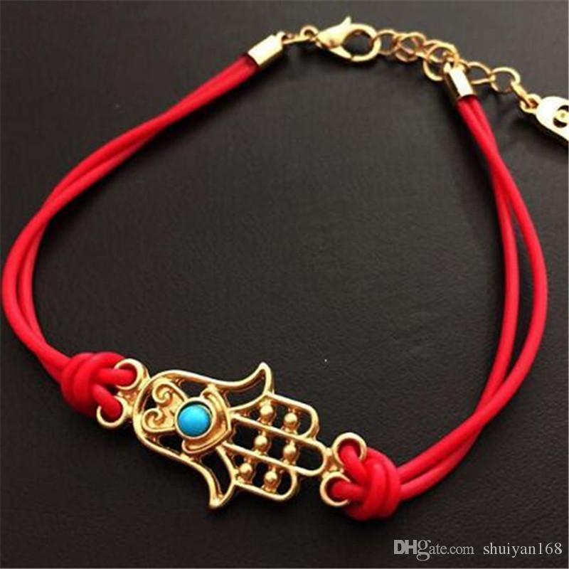 Hamsa Bracelet HAMSA MAIN Bracelet en cuir mal Eye Bracelet Lucky Charm Pendentif bijoux en gros Fatima Woven Hand Bracelet cadeau de Noël