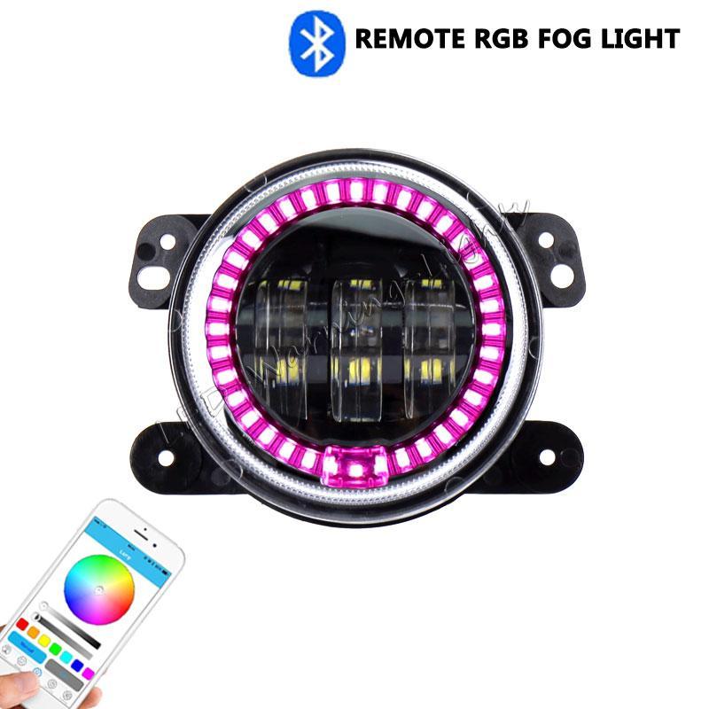 RGB remote led fog light JK Wrangler fog lamp car parts for 4x4 offroad YT TJ LJ Hummer Rover driving running fog lights