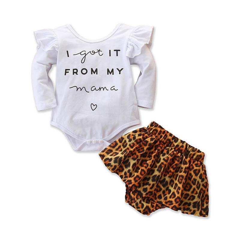 Leopard Skirt Dress Outfit Hot US Christmas Infant Baby Girl Long Sleeve Romper