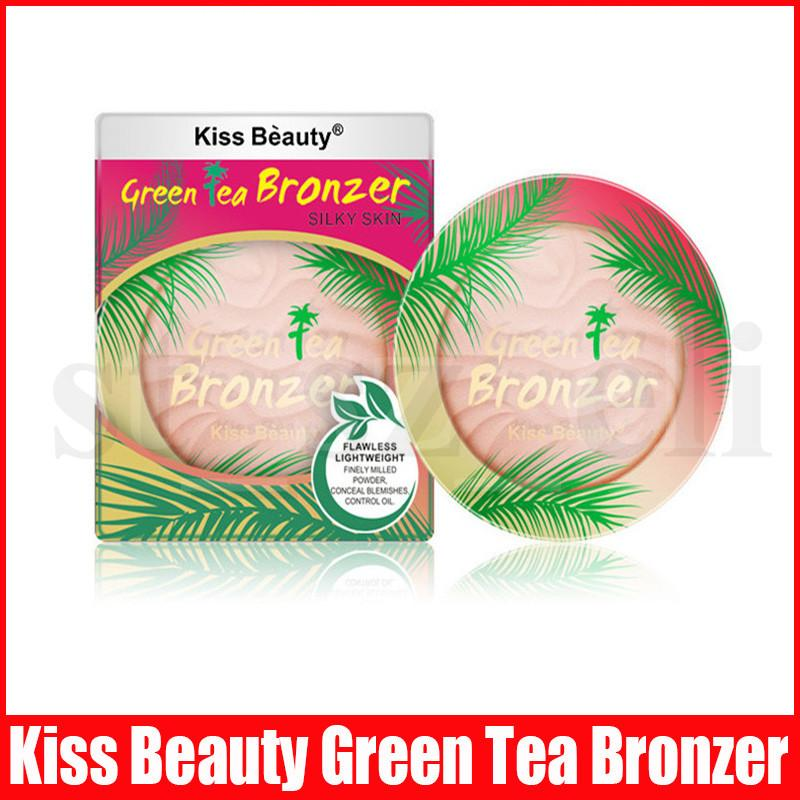 Kiss Beauty Makeup Green Tea Face Powder Brightening Long-lasting Waterproof Brighten Flawless Lightweught Powder Bronzer Contour 2 Colors