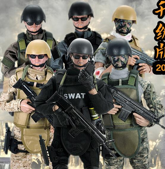 """Hot ! New 1pcs 12"""" 1/6 Swat Black Uniform Military Army Combat Game Soldier Set With Retail Box Action Figure Model Toys C19041501"""