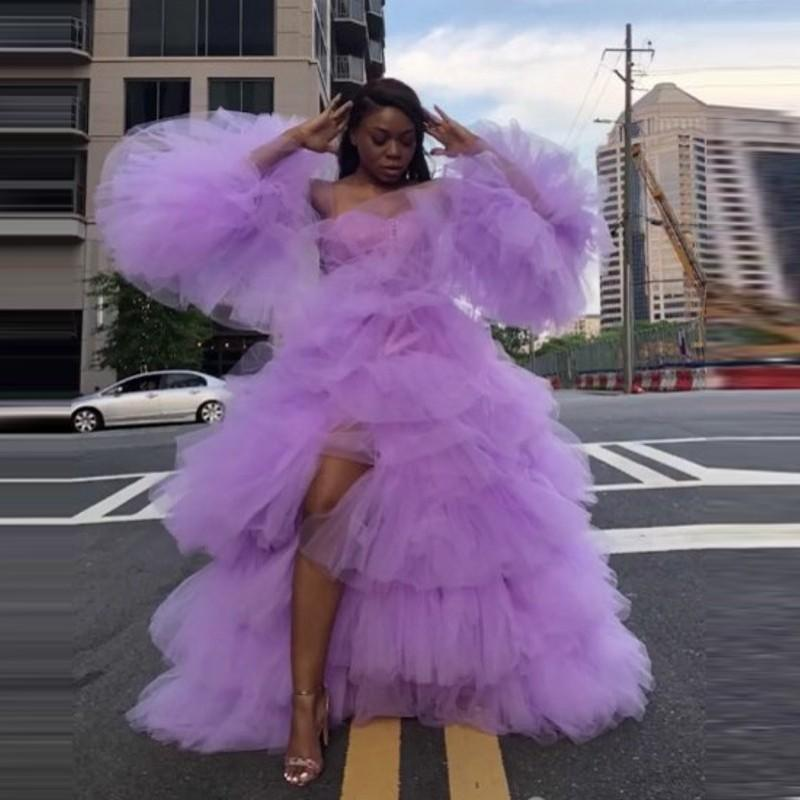 Lavender Sexy Prom Dresses With Separate Long Sleeves High Leg Splits Puffy Tulle Tiered Lush Evening Gowns Party Wear vestido de fiesta