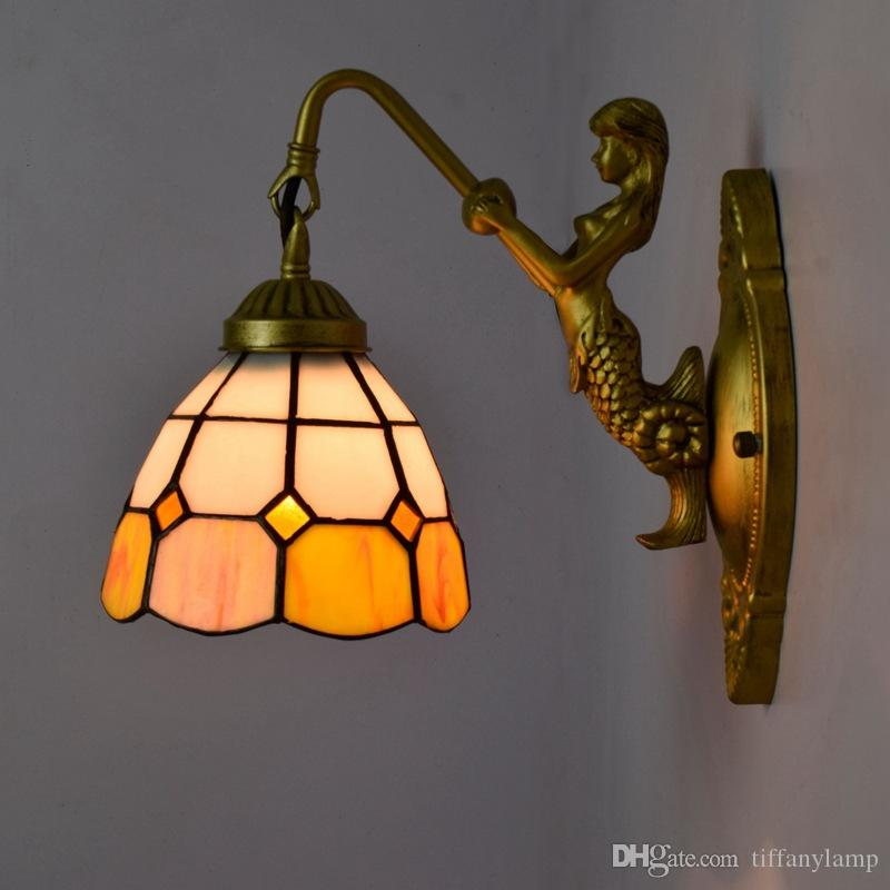 Stained Glass Wall Lamp Bedside Lights European Bar Wall Lamp Sconces Creative Art Glass Shade Corridor Aisle Wall Lamps