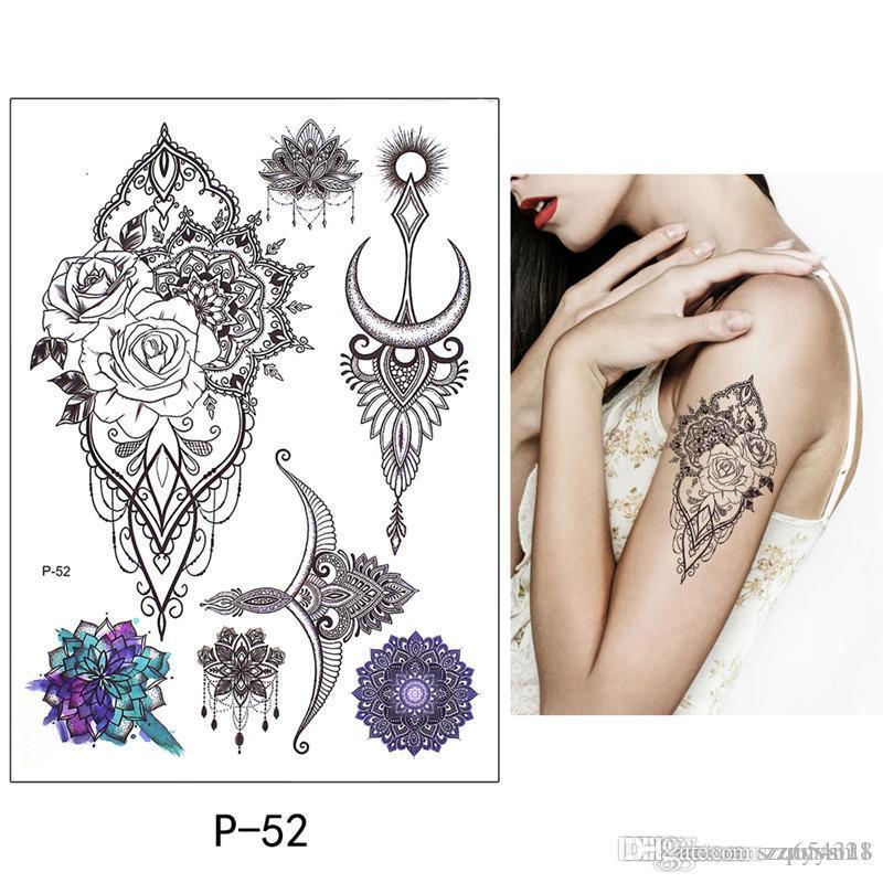 Güzellik Desen Moda Şakayık çiçeği dövme Seksi Su geçirmez 1 Sac Geçici Dövme Çıkartma Plum Blossom Tasarım DIY Kol Vücut