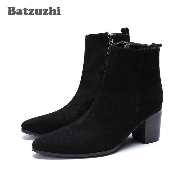 Batzuzhi 7CM Tacco alto da uomo Stivali alla caviglia Stivali eleganti in pelle scamosciata con cerniera Stivali da uomo d'affari da party Uomo Moda Chaussures Hommes, 46