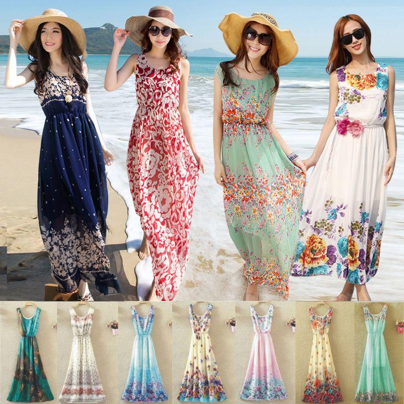 Womens Holiday Chiffon Summer Dress Boho Ladies Sundress Sleeveless Beach Dress