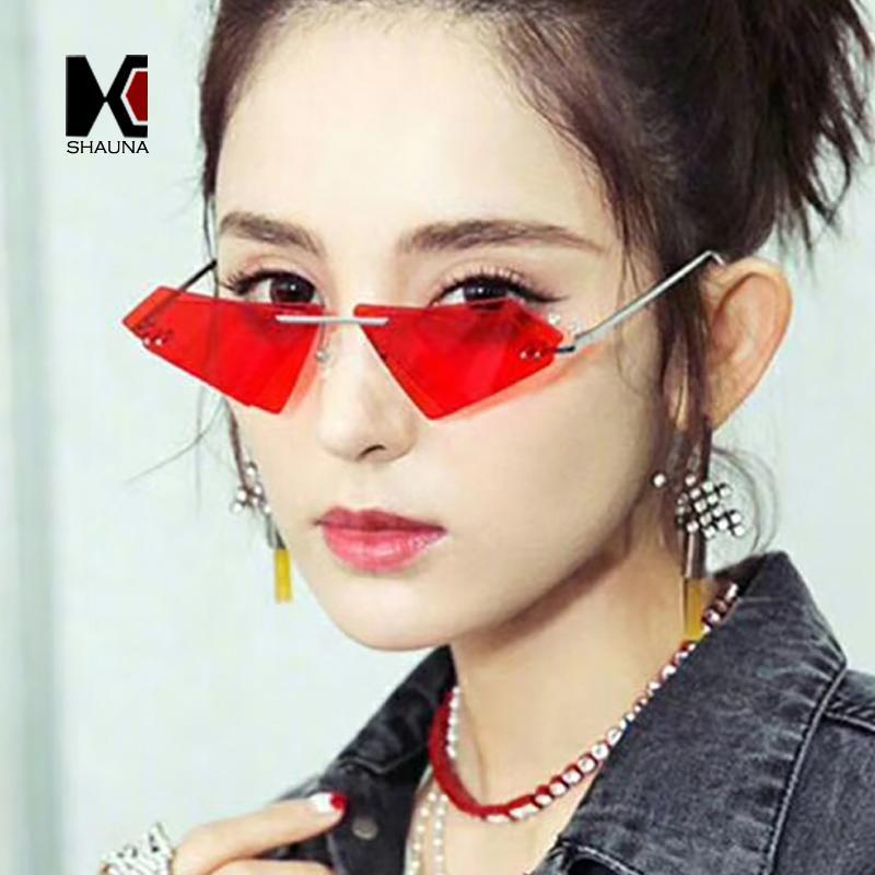 vendita all'ingrosso Unique Rimless Donne Diamond Sharp Occhiali da sole Moda doppia lente Cat Eye Uomo rosso colorato / Clear Lens Shades UV400