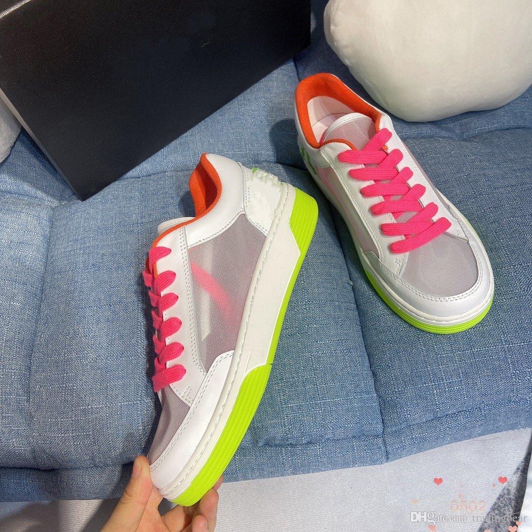 emballage d'origine dentelle en cuir respirant maillé up chaussures multi couleurs baskets femmes de mode de créateurs de luxe hommes chaussures de sport