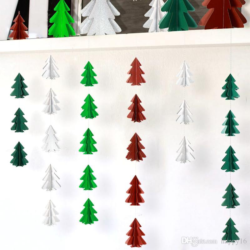 Bayrak DIY Noel Hediyesi hediyeler Dekorasyon Noel Cristmas Asma Üç boyutlu Mini Noel ağacı Kağıt Dize çekin Çiçek