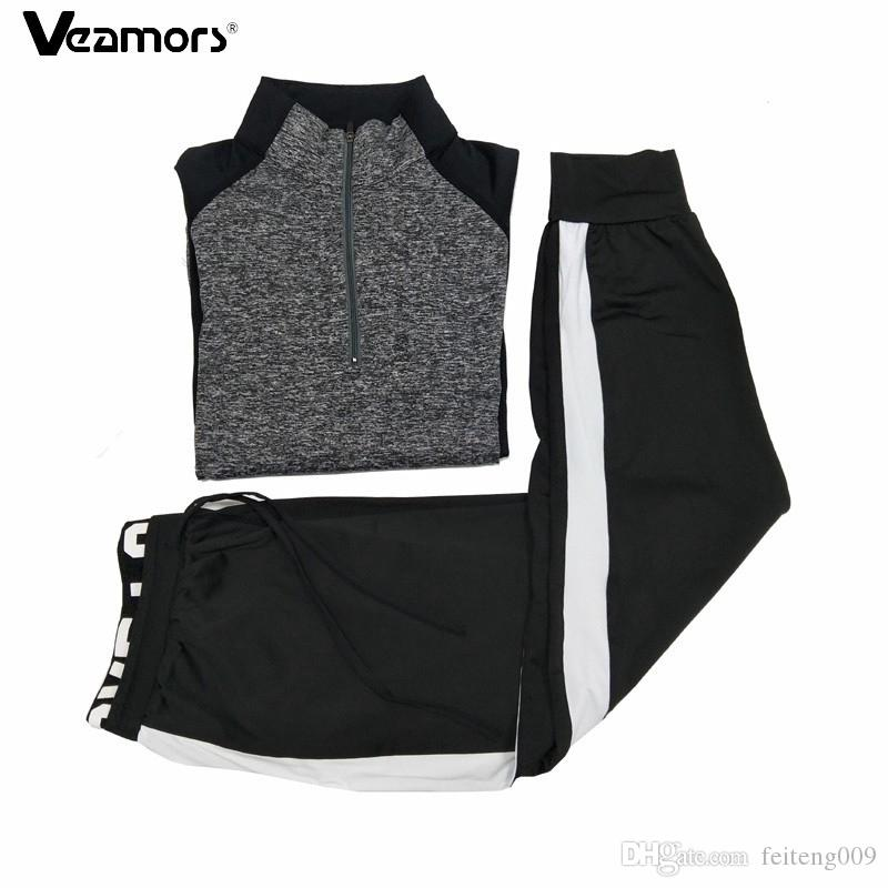 VEAMORS Sports Running Sets Ladies Breathable Soft Fitness Suits Yoga Gym Sportswear Women Quick Dry Elastic Workout Clothing #552672