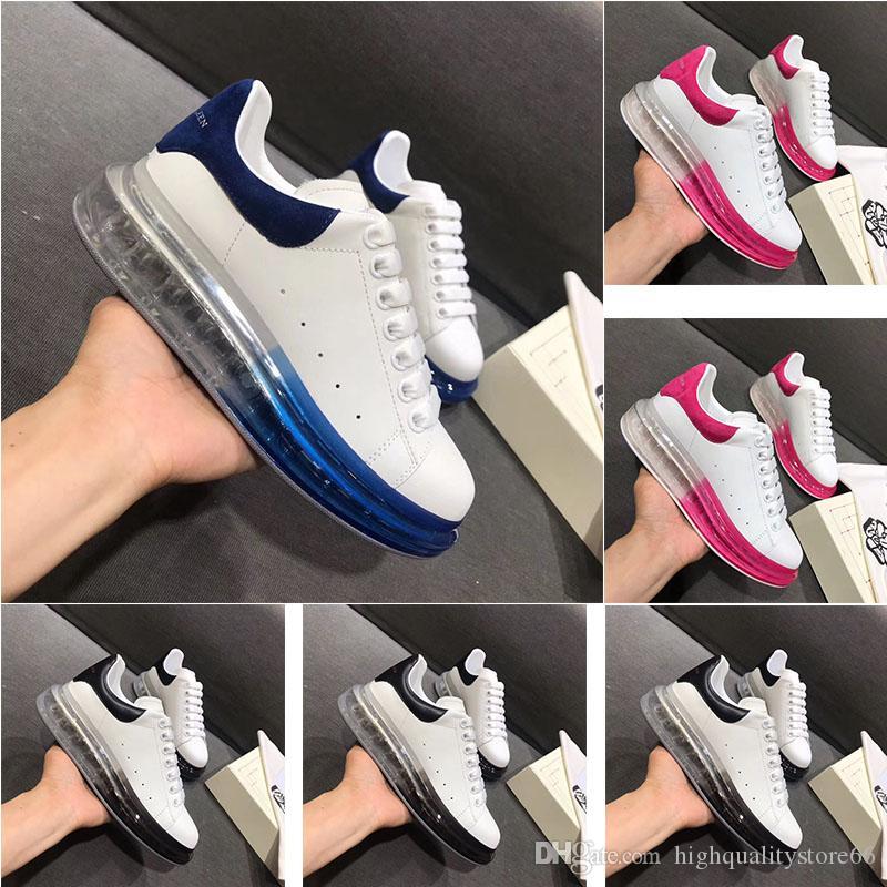 2019 neue hochwertige Designer-Schuhe Mode Damenschuhe Herrenschuhe Luftkissen Leder Spitze der starke untere Laufsohle weiß schwarz lässig 36-4