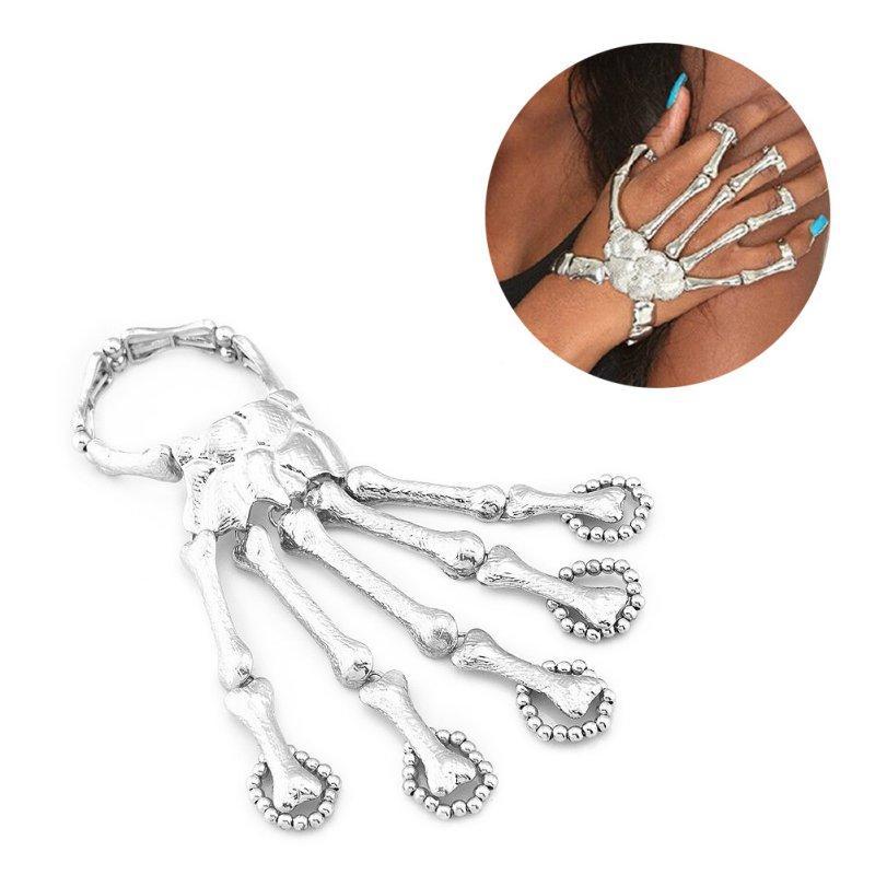 Bracciale Finger Bracciale partito della decorazione di Halloween puntelli regalo di divertimento notturno Party punk Finger cranio punk scheletro osseo della mano