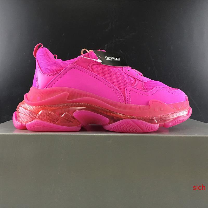 с 2019 года мужская и женская Повседневная обувь Triple S Clear Sole White Pink для женщин бренд дизайнерские кроссовки 36-46