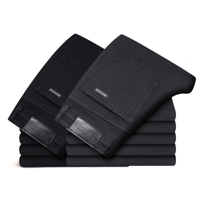 2019 Siyah Gri Markalar Kot Pantolon Erkek Giyim Esneklik Skinny Jeans İş Casual Erkek Denim İnce Pantolon Klasik Stil V191114