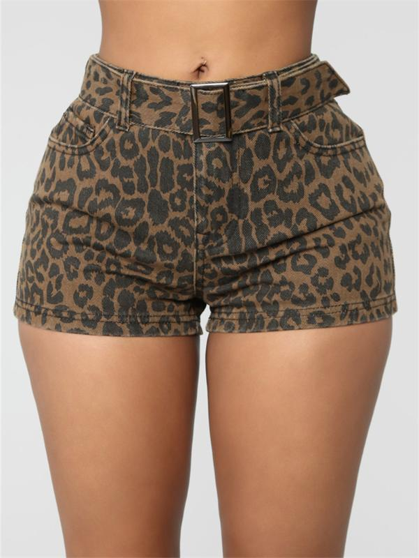 High Waist Elastic Leopard Shorts For Women Slim Sashes Casual Short Trousers Lady Summer Beach Bottom Shorts