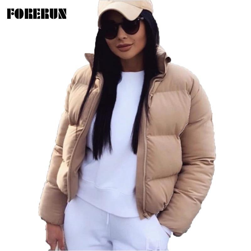 FORERUN 패션 버블 코트 솔리드 표준 칼라 대형 짧은 재킷 겨울 가을 여성 복어 자켓 파카 Mujer 2019 LY191129