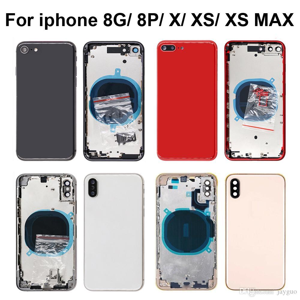 iphone 8 8plus X XR XS MAX Arka Kapak SIM kartlı İçin Kaliteli Arka Orta Çerçeve Şasi Tam Konut Meclisi