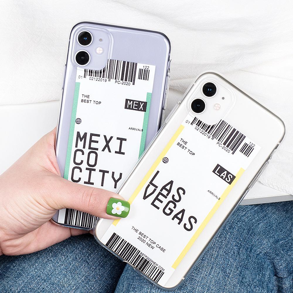 Yaratıcı Hava Bilet ABD İl Londra Paris Tokyo Etiket Dünya TPU Kılıf iPhone 12 Mini 11 Pro Max XR XS Max 7 8 6S Artı SE2 Anti-Fall Kapak