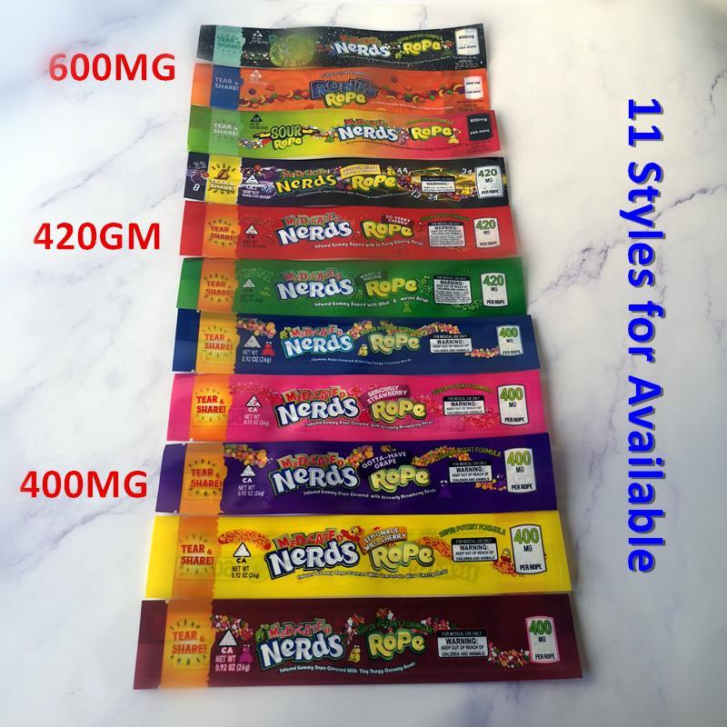 Nuevo 400 mg 420 mg 600 mg medicado empollones cuerda LO-un melón muy CEREZA empollones bolsas de cuerda de empaquetado empollones bolsa de cuerda de caramelo gomoso de Nerdsrope