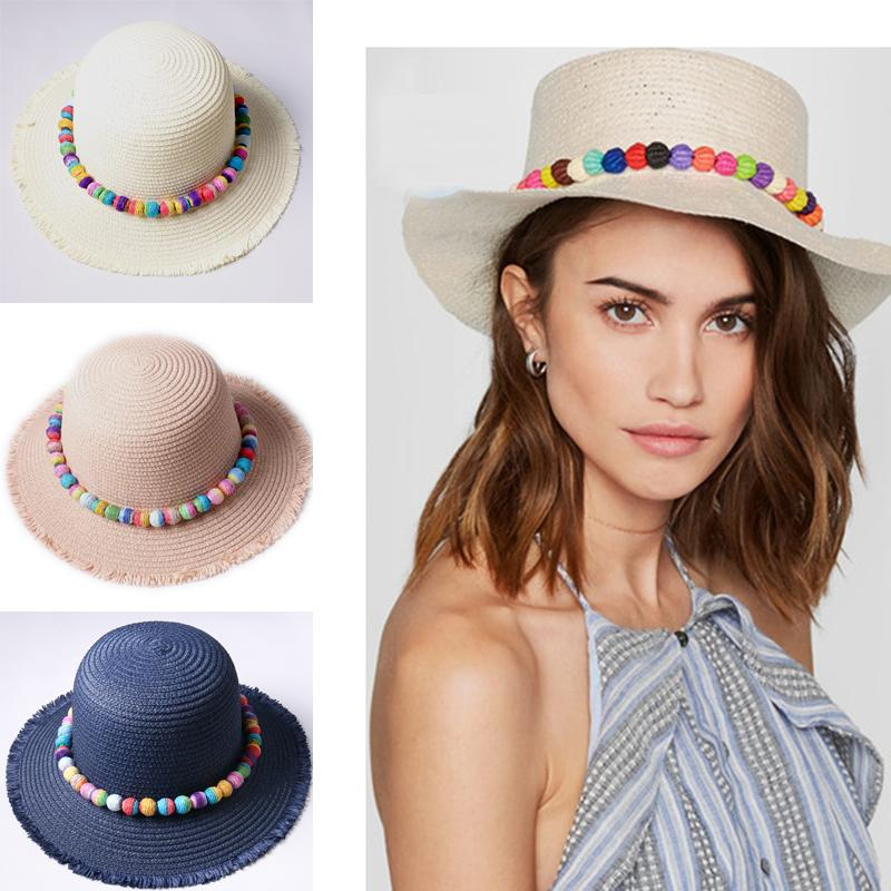 2017 New fashion women summer big straw hat,colorful toquilla ball for panam hat sun beach hat high quality