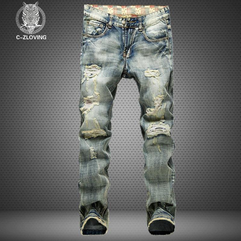 jeans novos buracos das Atacado-men usado calças jeans homens moda jeans reta costura de vários buracos e os fz0202 jeans de lavagem de vento