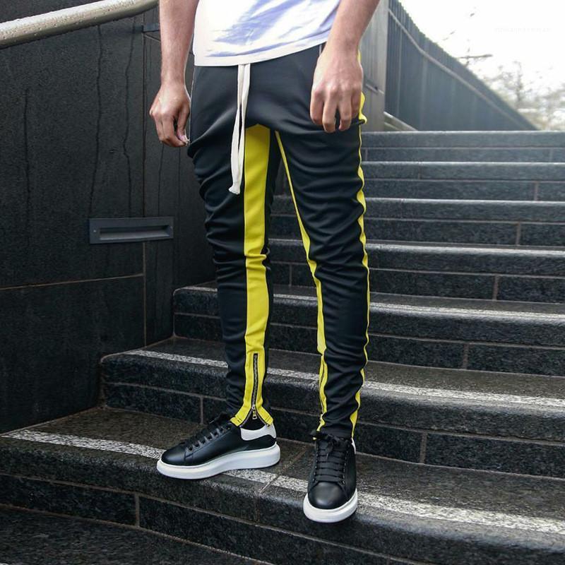 Casual respirável Zipper longo Mens Calças Lápis Mens Training Pants Designer Striped Impresso longas Mens Calças