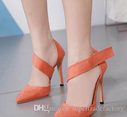 2019 мода оранжевый острым носом туфли на высоком каблуке 2 цвета женщин дизайнер насосы синтетическая замша размер 35 до 40