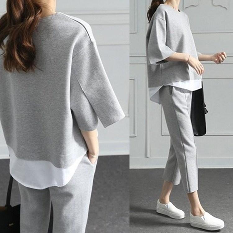 2018 Sonbahar Rahat O-Boyun Sahte Iki Adet Üst 3/4-Length Pantolon Iki parçalı Setleri Gevşek Bölünmüş Kollu pamuk T190913 Suits