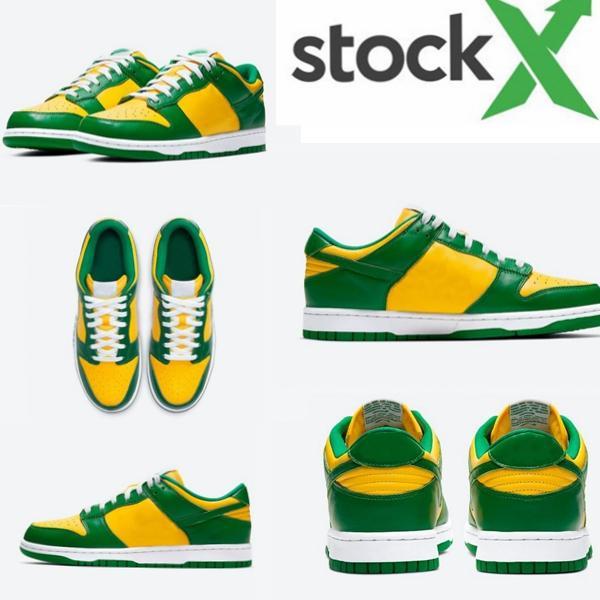 2020 Travis x Scottss SB Dunk Low Brasil tênis marcações amarelas verdes esportes Atlético Skateboarding Formadores da X